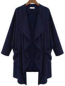 Navy Long Sleeve Pockets Loose Trench Coat