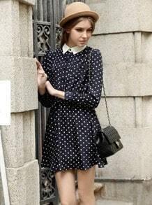 Navy Long Sleeve Polka Dot Pleated Dress