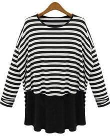 Black White Striped Long Sleeve Loose T-Shirt