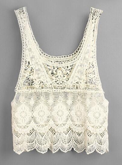 Beige Sleeveless Crochet Lace Vest