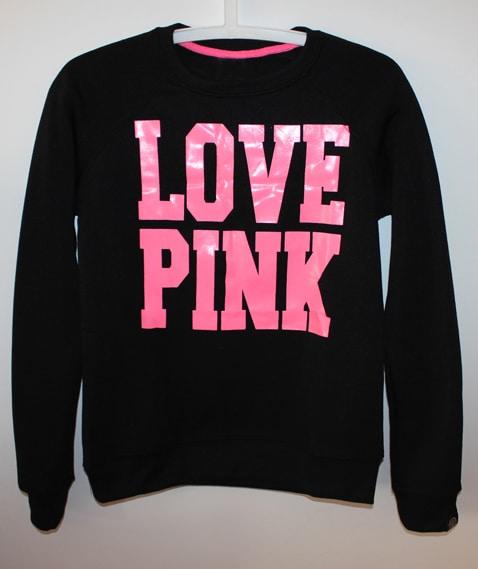 ღᏕᏰ PINK Love Pink Hoodie (Black/Pink)