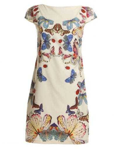White Short Sleeve Butterfly Pattern Dress