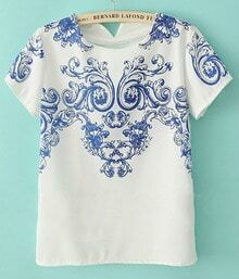 White Short Sleeve Blue Vintage Pattern Chiffon T-shirt