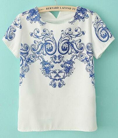 White Short Sleeve Blue Vintage Pattern Chiffon T-shirt