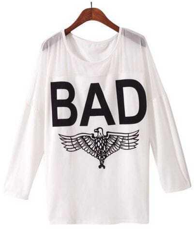 White Contrast Mesh Yoke BAD Print T-shirt