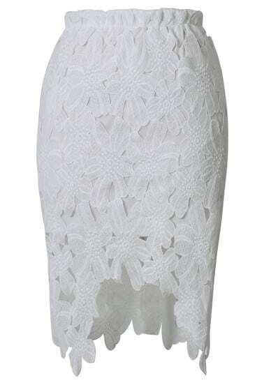 White Asymmetrical Lace Skirt
