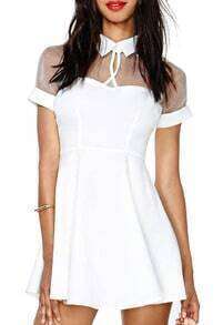 White Short Sleeve Mesh Peak Collar Skater Dress