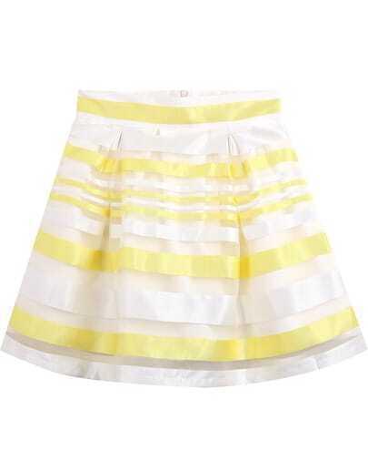 Yellow Striped Mesh Yoke Skirt