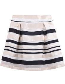 Navy Striped Mesh Yoke Skirt