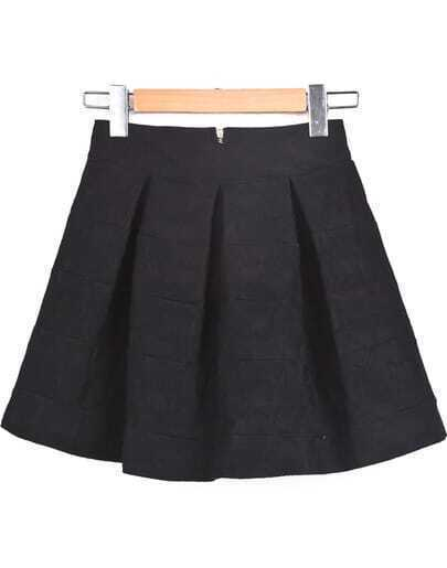 Black Zipper Pleated Skirt