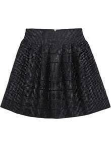Black High Waist Rivet Pleated Skirt