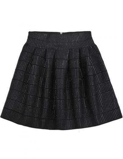 Black High Waist Rivet Pleated Skirt