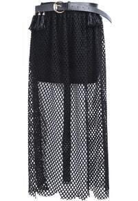 Black Belt Hollow Long Skirt
