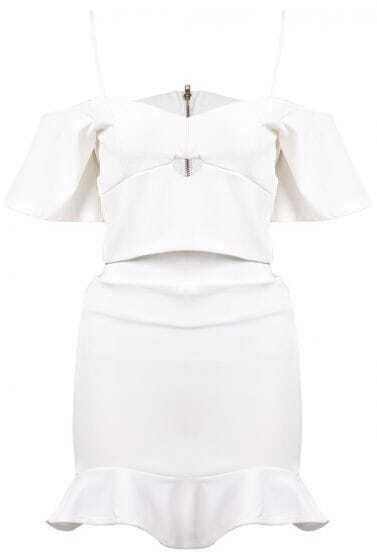 White Spaghetti Strap Ruffle Top With Skirt