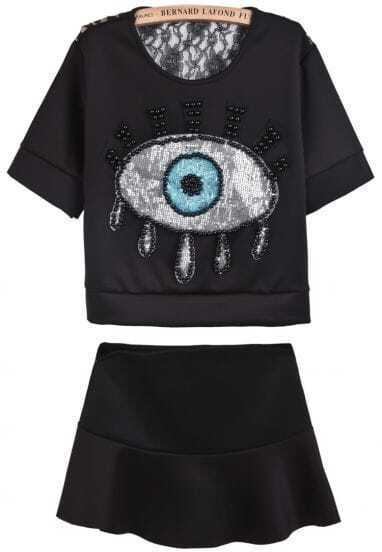 Black Contrast Lace Bead Sequined Eye Top With Skirt