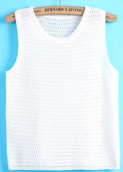 White Sleeveless Hollow Knit Top