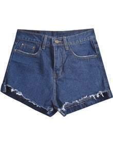 Navy Fringe Pockets Denim Shorts