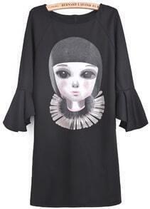 Black Ruffle Sleeve Girl Print Loose Dress