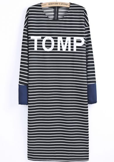 Black Long Sleeve Striped TOMP Print Dress