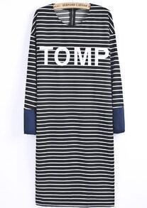 Black Long Sleeve Striped TOMP Print Dress