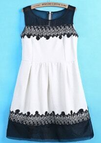 White Contrast Organza Embroidered Slim Dress