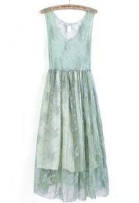 Green Sleeveless Embroidered Lace Pleated Dress