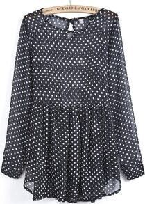 Black Long Sleeve Polka Dot Sheer Chiffon Dress