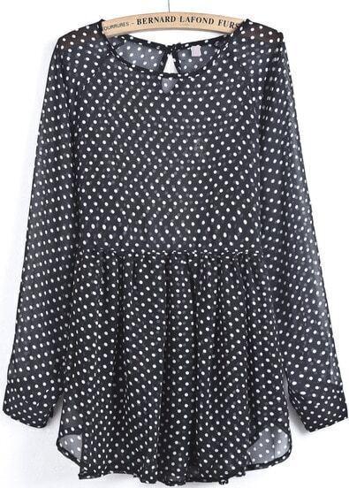 Black Long Sleeve Polka Dot Sheer Chiffon Dress