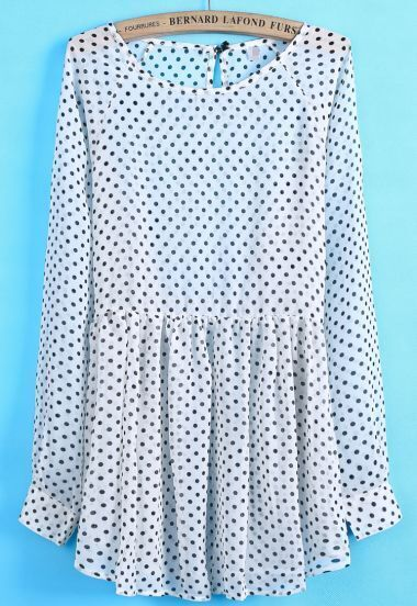White Long Sleeve Polka Dot Sheer Chiffon Dress