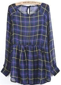 Blue Long Sleeve Plaid Sheer Chiffon Dress