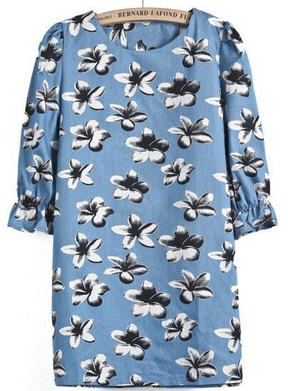 Blue Puff Sleeve Floral Straight Dress