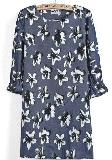 Navy Puff Sleeve Floral Straight Dress