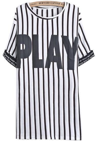 Coffee Vertical Stripe PLAY Print T-Shirt