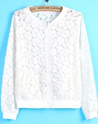 White Long Sleeve Floral Crochet Lace Jacket