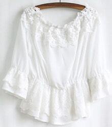 White Boat Neck Three Quarter Sleeve Lace Blouse