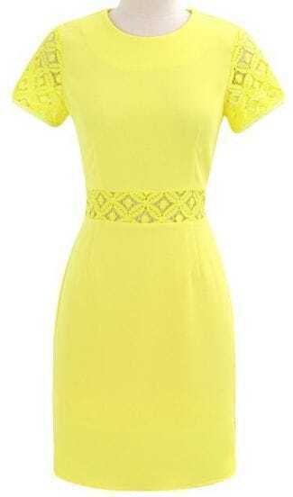 Yellow Short Sleeve Contrast Hollow Lace Dress