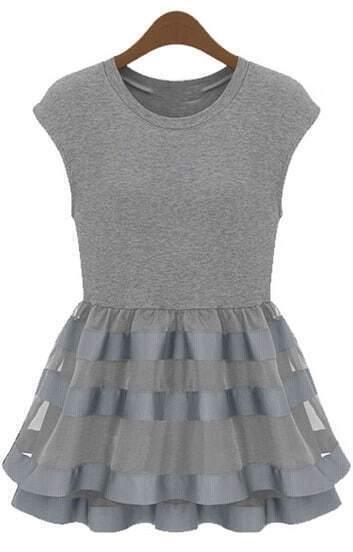 Grey Cap Sleeve Contrast Organza Ruffle Dress