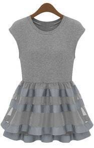 Grey Cap Sleeve Contrast Organza Ruffle Dress