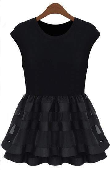 Black Cap Sleeve Contrast Organza Ruffle Dress