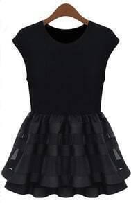 Black Cap Sleeve Contrast Organza Ruffle Dress