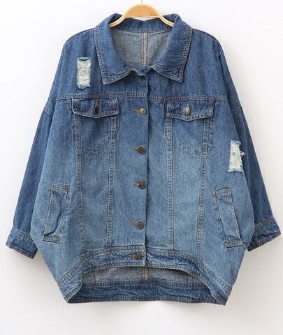 Blue Long Sleeve Ripped Pockets Oversized Denim Coat