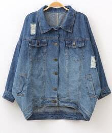 Blue Long Sleeve Ripped Pockets Oversized Denim Coat