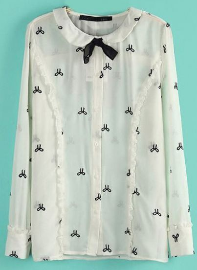 Beige Long Sleeve Bow Embroidered Slim Blouse