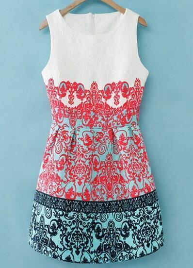 Red Round Neck Sleeveless Floral Jacquard Dress