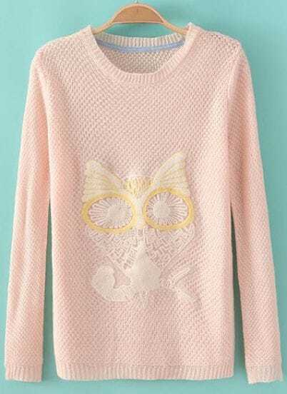 Pink Long Sleeve Owl Embroidered Knit Sweater