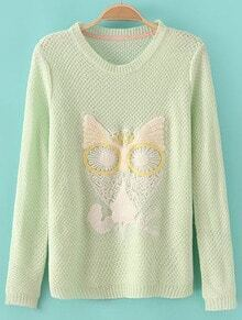 Green Long Sleeve Owl Embroidered Knit Sweater