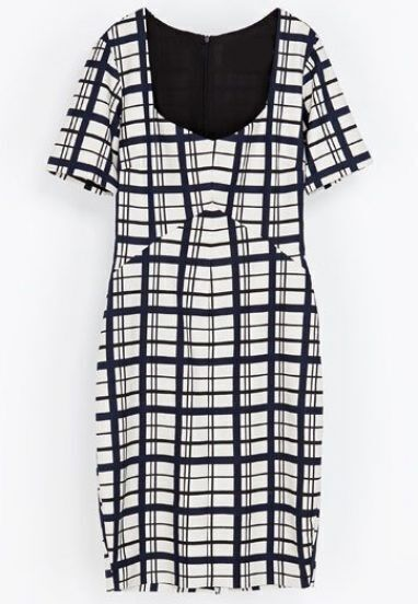 Blue White Plaid Short Sleeve Split Bodycon Dress