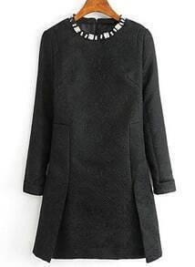 Black Long Sleeve Rhinestone Split Dress