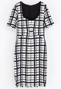 Blue White Plaid Short Sleeve Split Bodycon Dress