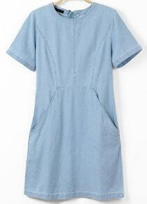 Blue Short Sleeve Zipper Pockets Denim Dress